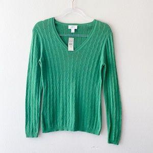 Ann Taylor Loft Green Cotton V-neck Pullover